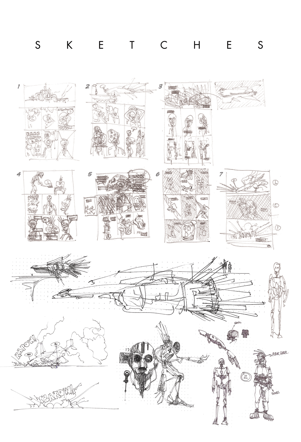 Conceptual sketches and page structure.